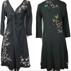 Johnny Was Gray Butterfly Embroidered Dress